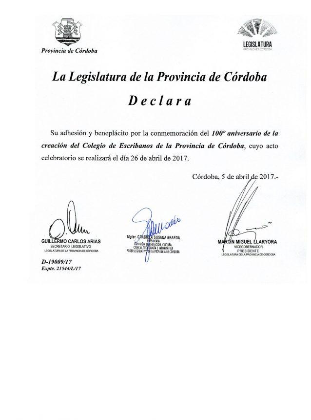 Declaracion.Legislatura-Centenario Colegio de Escribanos