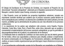 Comunicado del Colegio de Escribanos de la Provincia de Córdoba