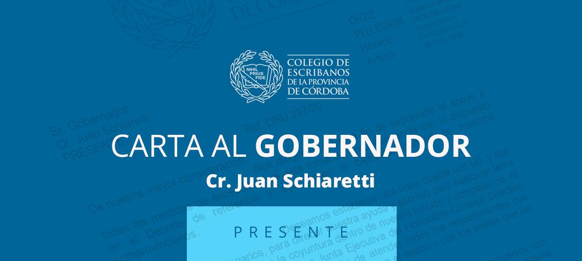 Carta al Gobernador Cr. Juan Schiaretti